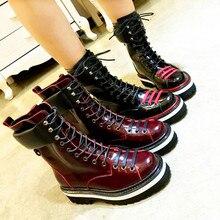 08ecce4b 2019 botas de tobillo para mujer de marca caliente con cordones delanteros  zapatos de mujer de moda de cuero corto botines Super.