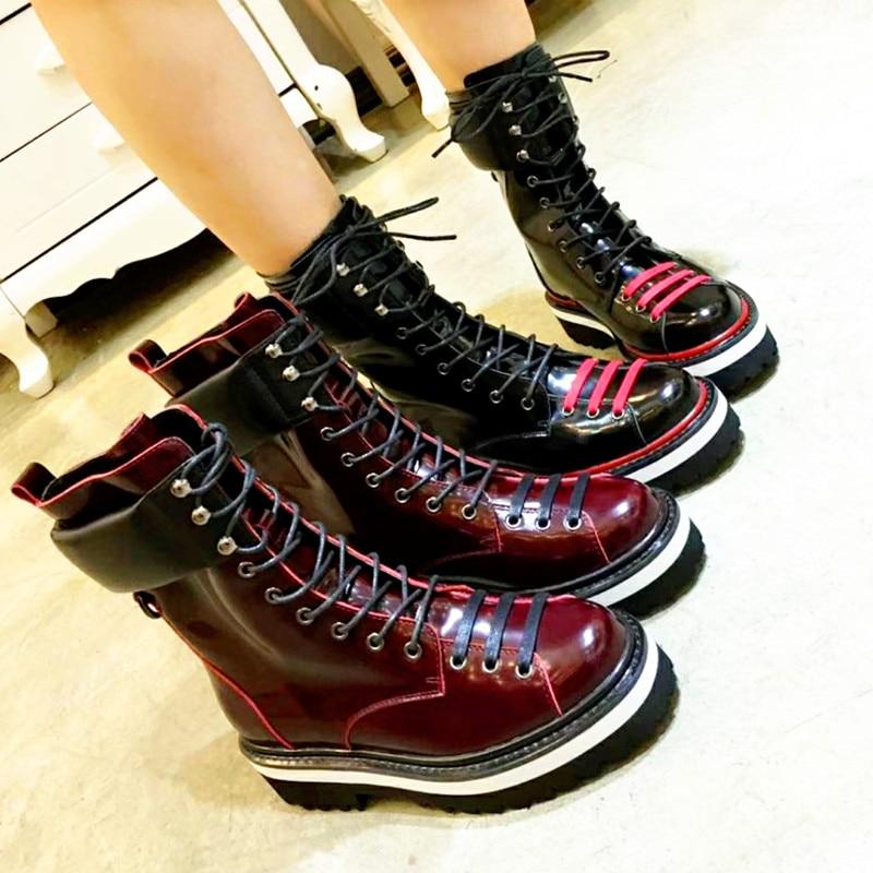 Lace Marke as Star Stiefeletten 2019 Chic Chaussures Super Trendy Pic Femmes Up Vorne As Heißer Schuhe Leder Pic Kurze Heels Frauen Booties qARRn5xwXF