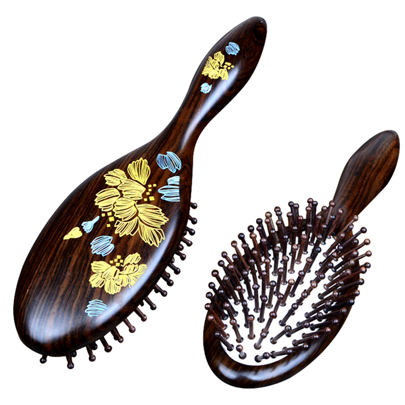 1pc black Natural Sandalwood Wood Brush Healthy Care Massage Hair Combs Antistatic Detangling Airbag Hairbrush Hair Styling Tool green sandalwood air bag hair combs natural anti static head massager tool airbag relaxation brushes health massage comb