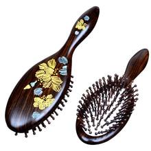 hot deal buy 1pc black natural sandalwood wood brush healthy care massage hair combs antistatic detangling airbag hairbrush hair styling tool