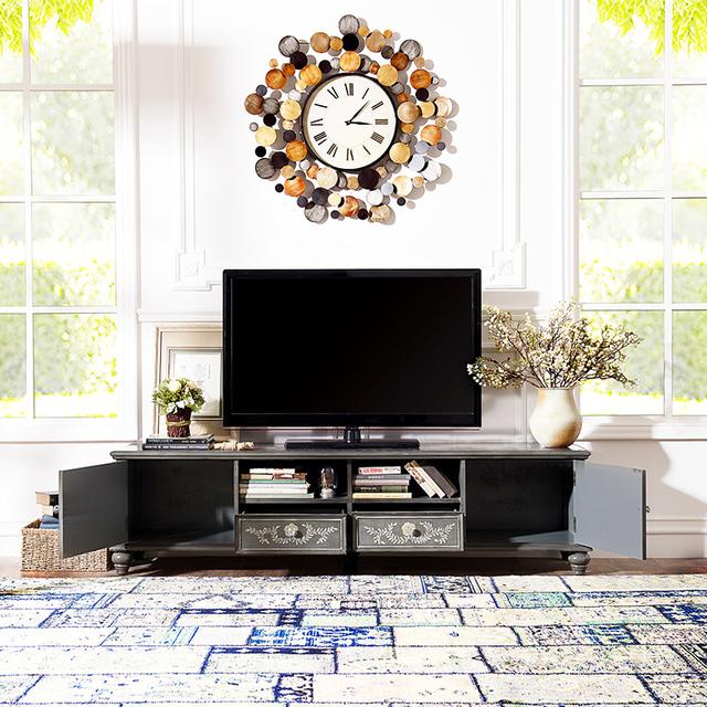 [ Grupo Brand ] rendimento fileiras ímpares Illinois alongado cinza pintados à mão sala de estar TV gabinete h