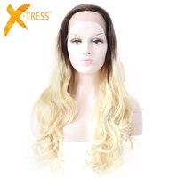 X TRESS Ombre блондинка коричневый Синтетические волосы на кружеве человеческих волос парики Бесплатная расставаясь свободная волна 26 ''длинные