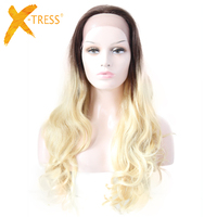 X TRESS Ombre Blonde Brown Lace Front Human Hair Wigs Free Parting Loose Wave 26'' Long Brazilian Remy Human Wigs For Women