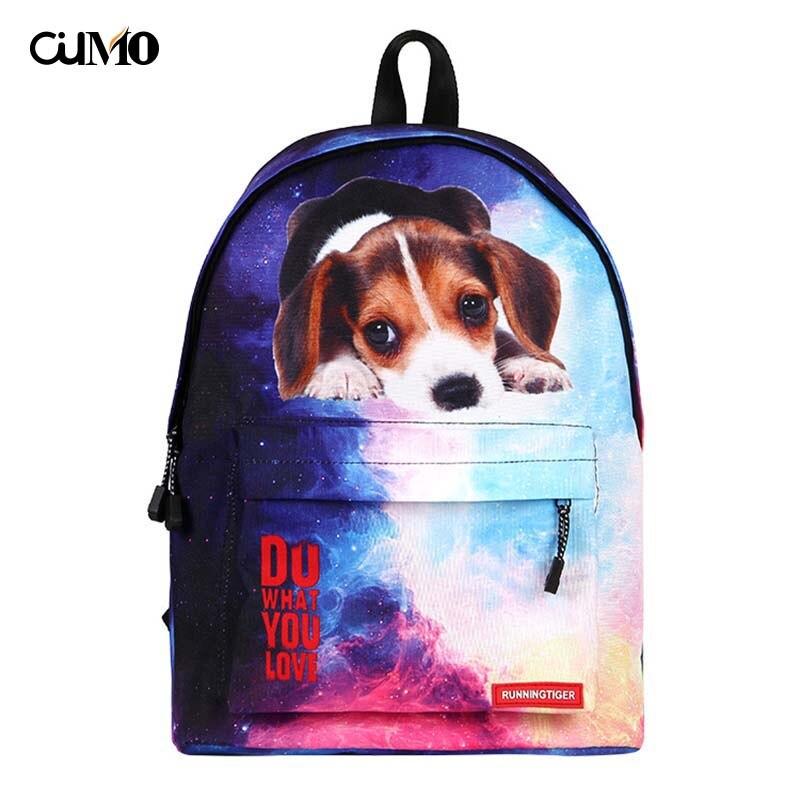 Ou Mo brand Print Pet computer laptop anti theft backpack feminina Women Bag man teenagers Boys/Girls Schoolbag