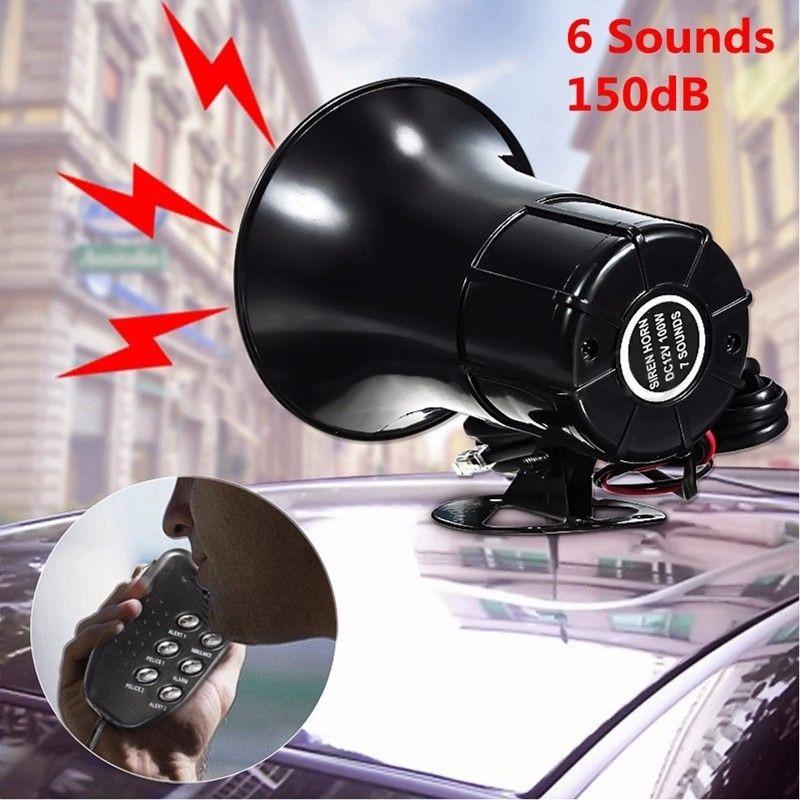 Police Fire Siren PP Plastic Black Car Warning 6 Sound Tone Loud Speaker Alarm Horn MIC System 1pc Hot Brand New