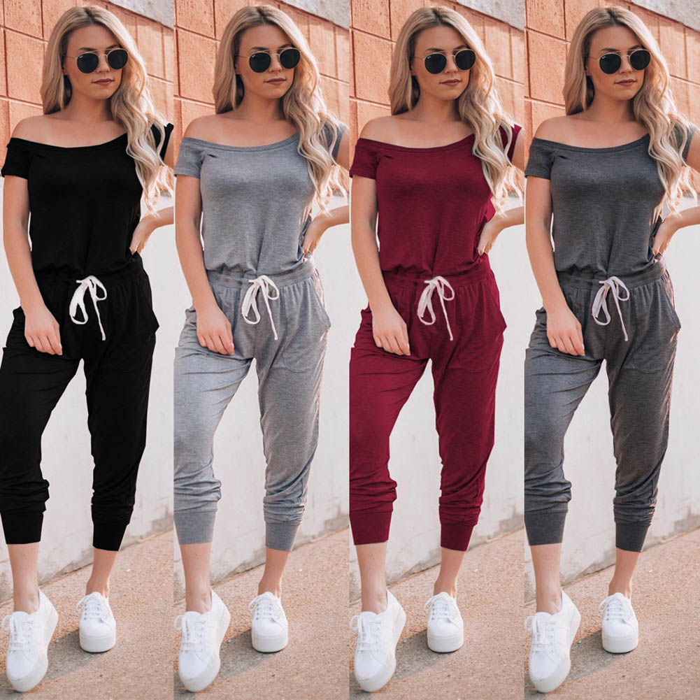 Newly Women   Jumpsuits   Solid Color Short Sleeves Off Shoulder Tied Jumper for Summer