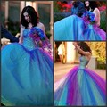 Sweetheart 2016 Charming Tulle Colorful Rainbow Dresses Back Lace up Colored Wedding Dress with Sequins