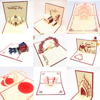 50Pcs Invitation Greeting Cards 3D Pop UP Cards Valentines Day Gift Postcard with Envelope Stickers Wedding Anniversary for Her