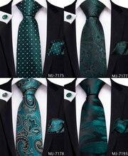 Dibangu gravata masculina de bolinhas, gravata luxuosa, verde, floral, para homens, com babados, de seda, 100% conjunto de gravata de casamento