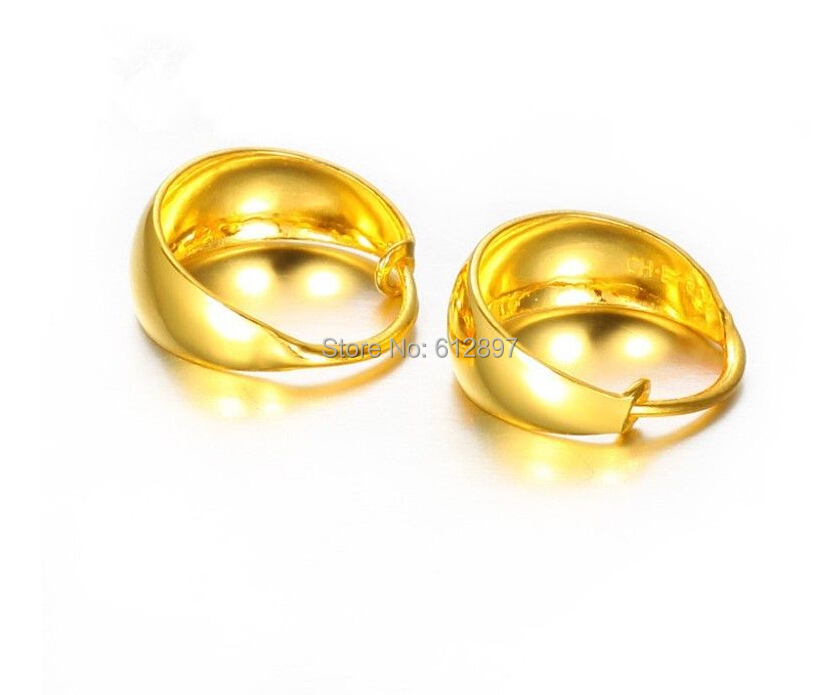 999 Solid 24k Yellow Gold Hoop Earring/ Lady's Smooth Hoop Earring / 4.68g цена 2017