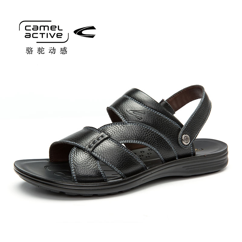 Camel Active Summer Men Beach Sandals Handmade Genuine Leather Sandals Shoes for Men Leisure Durable Non-slip Shoes 157264105
