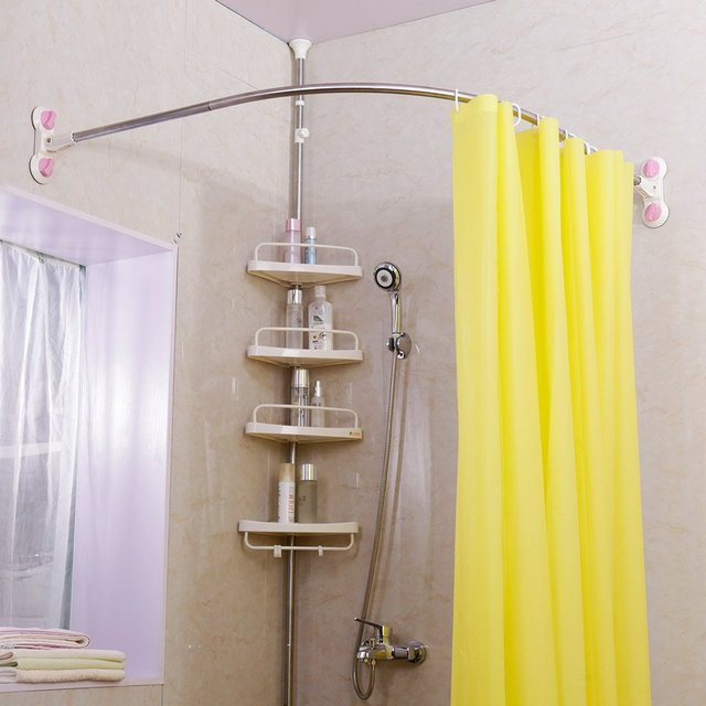 Curved Corner Shower Curtain Rod Suction Cups Bathroom Arched Bath Rail Pole Track Stainless Steel 109x109cm DQ1615 1 In Poles From Home