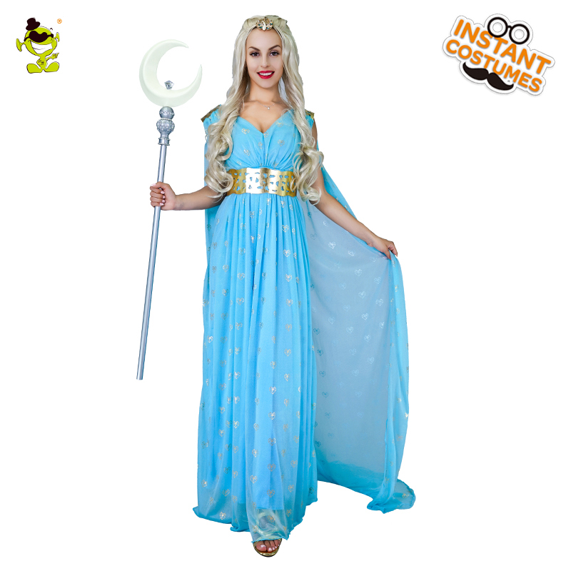 Femmes Game of Thrones déesse grecque Aphrodite Cosplay Costume bleu glamour beauté & déesses & robe de princesse