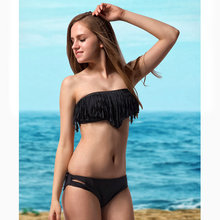 2016 New Tassel Bra Woman Sexy Bikini Set PAD Wire Free Female Swimsuits Bandeau Beach Strap top Bikinis Set