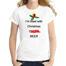 Funny Ugly Christmas T Shirt for Women with Im Filled Cheer Beer Vodka Letter Printed Plus Size S-3XL