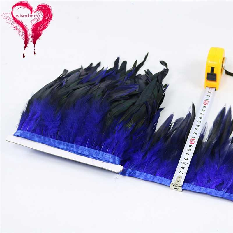 15 Warna Lebar 1 Meter 15-20 Cm Dicelup Warna-warni Ayam Schlappen Bulu Pita Lace Trim Pakaian Diy dekorasi Pesta