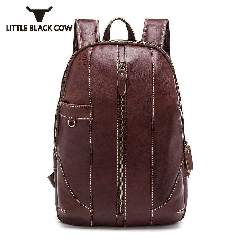 Vintage 100% Real Leather Men Backpack Fashion Softshell School Bags For Teenager Casual Male Zipper Excursion Travel BackpacksVintage 100% Real Leather Men Backpack Fashion Softshell School Bags For Teenager Casual Male Zipper Excursion Travel Backpacks
