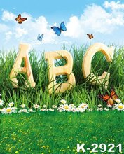 Blue Sky White Clouds Photo Digital Backgrounds ABC In Green Lawns White Flowers Butterfly Decor 150X200cm Studio Backdrops
