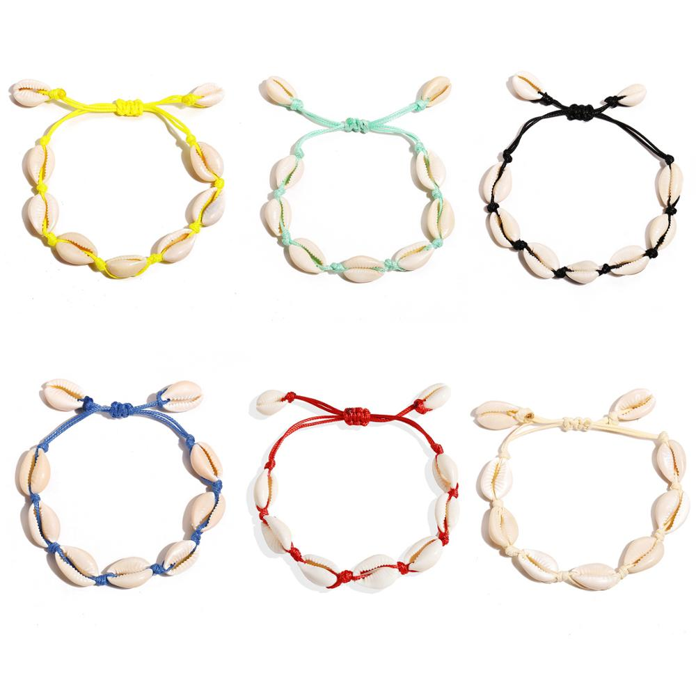 S212 Bohemia Shell Anklets For Women Handmade Adjustable Colorful Rope Foot Boho Jewelry Legs Bracelets accesorios de verano