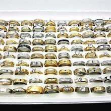 Оптовая продажа, 30 шт., набор колец для женщин и мужчин, унисекс, большие стразы из циркона, обручальные ювелирные изделия из нержавеющей стали с золотым и серебряным покрытием для свадьбы