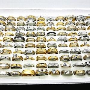 Image 1 - Ensemble de 30 bagues unisexes pour femmes et hommes, grands strass et zircon, plaqué or et argent, acier inoxydable, fiançailles, bijoux de mariage, vente en gros