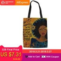 FORUDESIGNS/Art афро леди девушки печати Холст Многоразовые женская сумка-шоппер складной продуктовый хранения сумки большие повседневные сумки ...