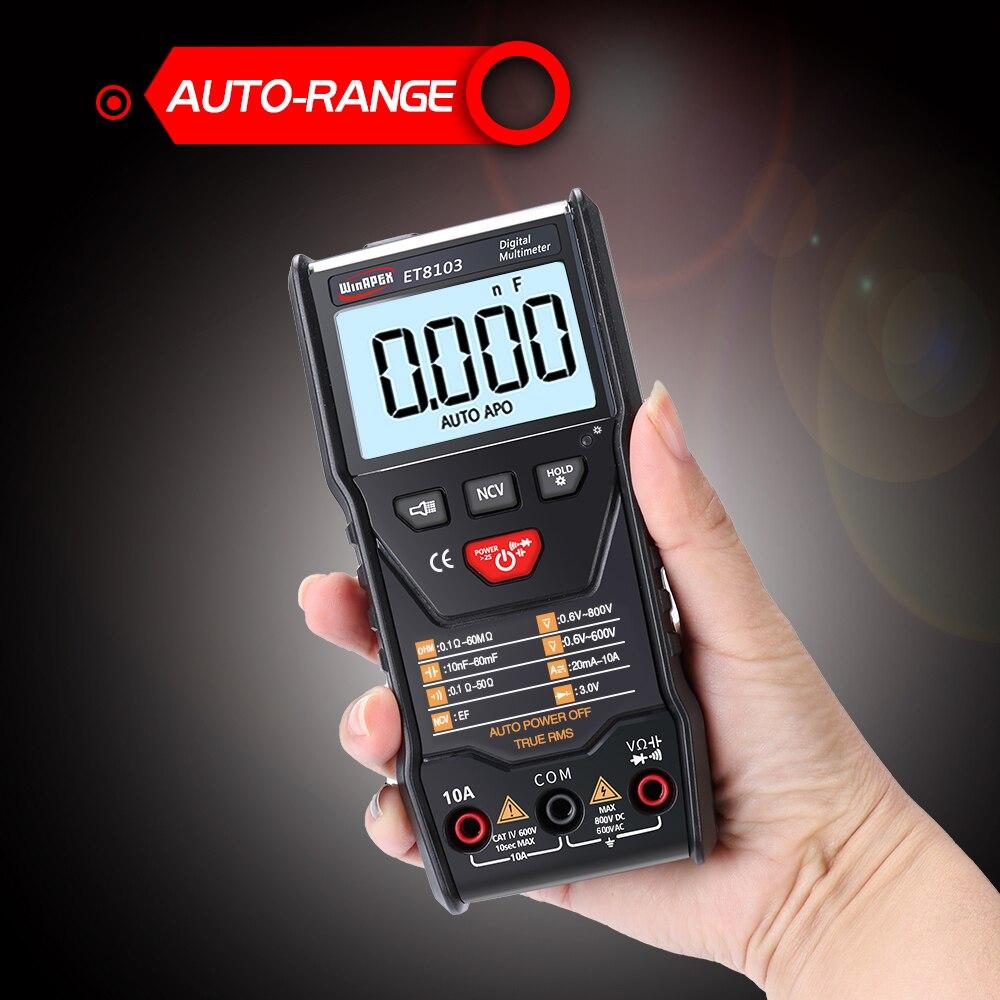 Compteur de résistance de champ électrique de capacité de courant de tension ca/cc de multimètre de mesure automatique portatif d'affichage à cristaux liquides de WinAPEX ET8103