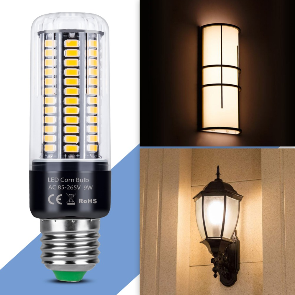 Купить с кэшбэком Aluminum LED Corn Light E27 Lamp E14 LED Bulb 5736 SMD 28 40 72 108 132 156 189 LEDs Candle Bulb 220V High lumen Lighting 110V