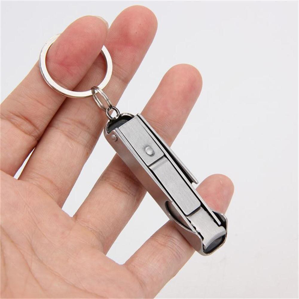 แบบพกพา Ultra-thin ที่เปิดขวดเบียร์พวงกุญแจเล็บ Clipper 2 In 1 สแตนเลสเปิดขวดเบียร์อุปกรณ์ครัว