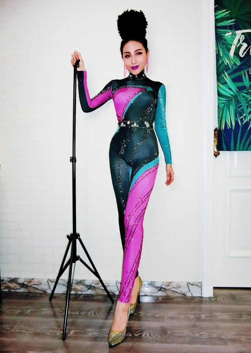 الأحجار الملونة تمتد بذلة طويلة الأكمام واحدة قطعة ارتداء ملهى ليلي المغني راقصة ارتداءها المرأة حزب تظهر مثير طماق