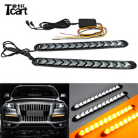 Tcart Car LED Flexible Switchback Knight Rider Strips Auto DRL Daytime Running Light Flow Amber Turn Signal Lamps For Chevrolet