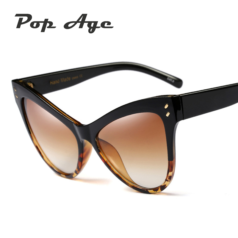 dfd4eb9052d Pop Age Vintage Rivet Shades Oversized Cat Eye Sunglasses Women Leopard  Frames Eyeglasses High quality Sun glasses Unique Oculos