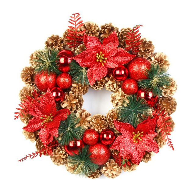 Beautiful Elegant Hanging Christmas Wreath Garland Ball Cone Xmas