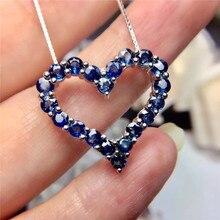 LUKENI Necklace Pendant Women Lady silver Necklaces hearts sapphire 3mm*3mm Pendants Jewerly
