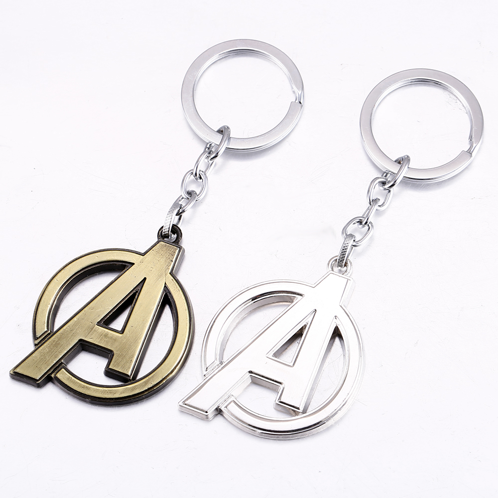 MS JEWELS Hot movie The Avengers Key Chain A Logo 2 Colors Metal Key Rings ForGifts Chaveiro Keychains