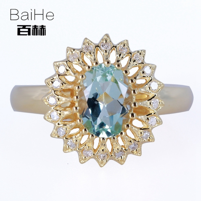 BAIHE Solid 14K Yellow Gold(AU585) 1.11CT Certified H/SI Oval 100% Genuine Aquamarine Wedding Women Trendy Ring