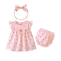 Summer Newborn Baby Girls Clothing Set Outfits Clothes 3pcs Set Cotton Tops Cotton Shorts Bow Tie