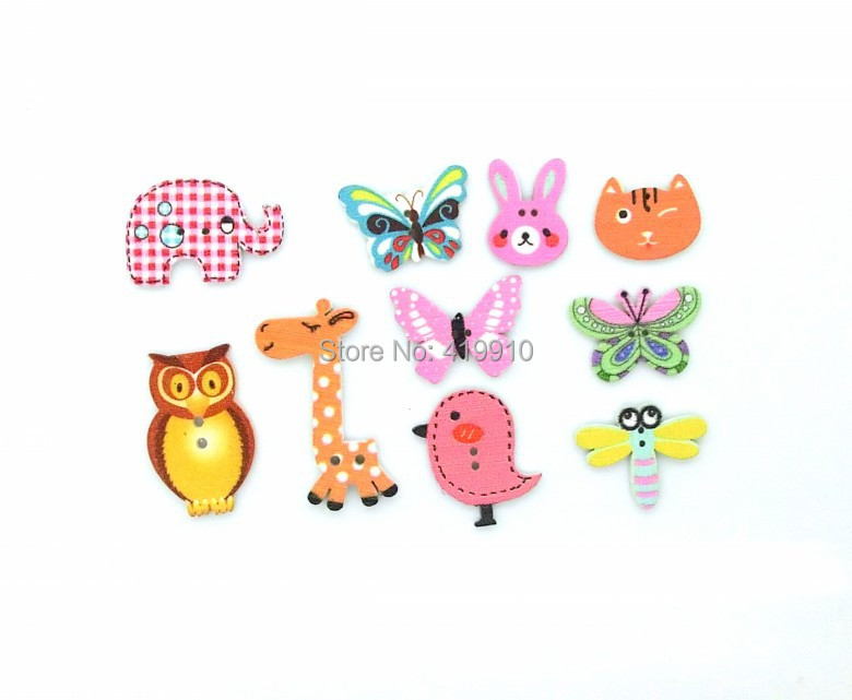 Free shipping -100pcs Mixed 2 Holes pattern cartoons Wood Sewing Buttons Scrapbooking  D2267