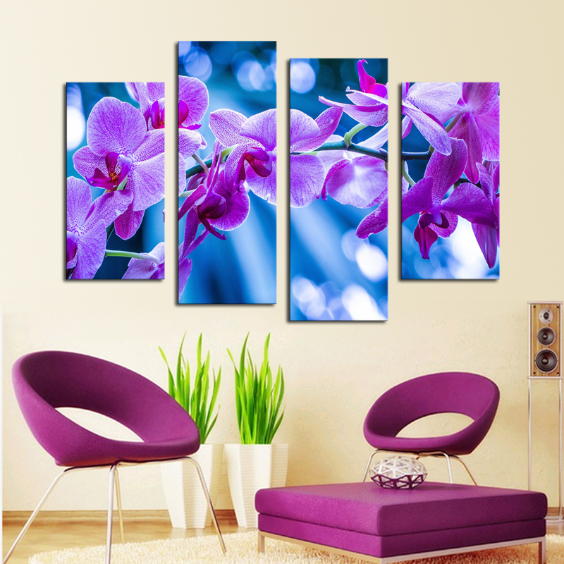 4 Pcs Dreamy Purple Flower Wall Art Picture Home Decoration Living ...