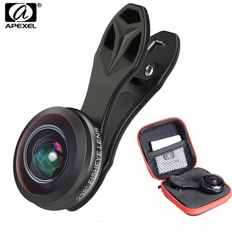 Цена за Новое обновление 238 градусов Супер Рыбий глаз, apexel полный кадр мобильного телефона Камера объектив для iPhone 7 Plus Samsung Huawei Xiaomi