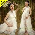Branco de renda vestido de fotografia adereços sessão de fotos de gravidez maternidade vestido camisola frete grátis