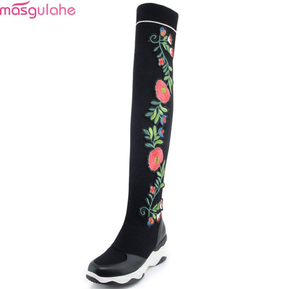 Mode Sur Véritable Masgulahe En Laine Le Femmes Cuir Dames Automne Bout Noir Hiver Rond Bottes Genou Confortable dwnqS46w
