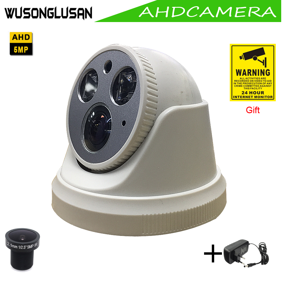 AHD 5MP SONY IMX326 CMOS Sensor AHD-H Indoor Dome With 2.1mm Lens 2 Array IR Leds IR Cut Night Vision CCTV Surveillance Cameras