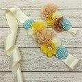1set/lot 3styles Handmade Fashion Baby Girls Headband Beautiful Chiffon Satin Flower Sash Belt with Pearl Mathcing Headband