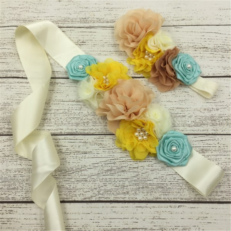 1set/lot 3styles Handmade Fashion Girls Headband Beautiful Chiffon Satin Flower Sash Bel ...
