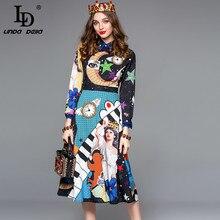 Ld linda della 가을 패션 디자이너 드레스 여성 긴 소매 화려한 인쇄 미디 슬림 빈티지 드레스 레이디 vestido