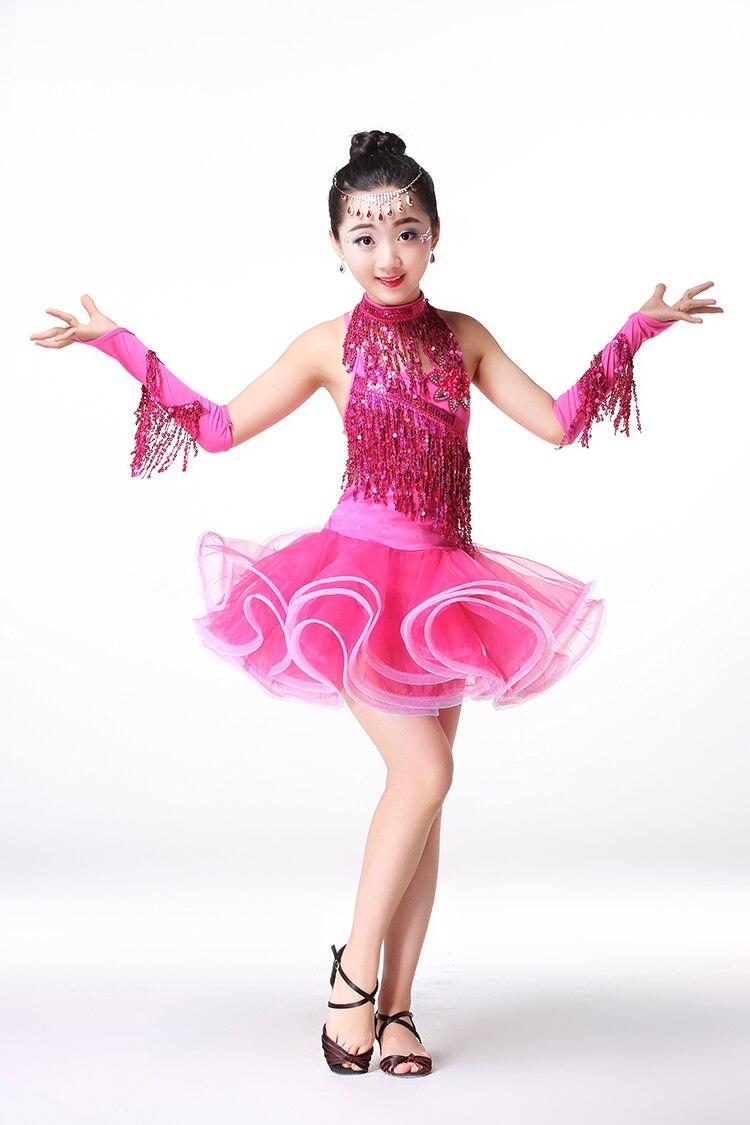 Niñas salsa vestidos sequin vestido de Danza Latina para Niñas ...