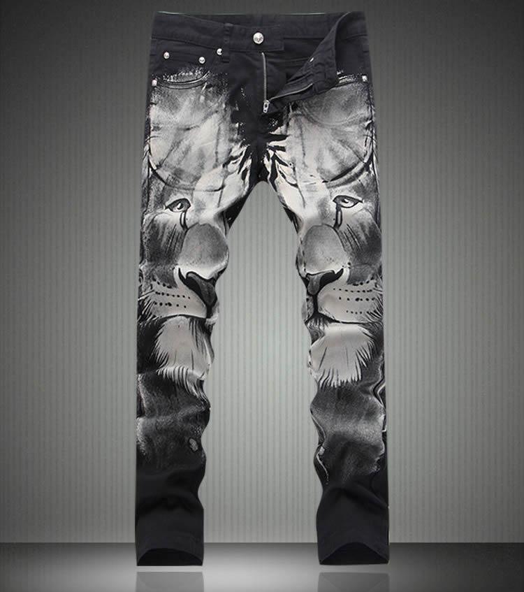 Fashion New Vintage Lion Print Tousers New Slim Denim Jeans
