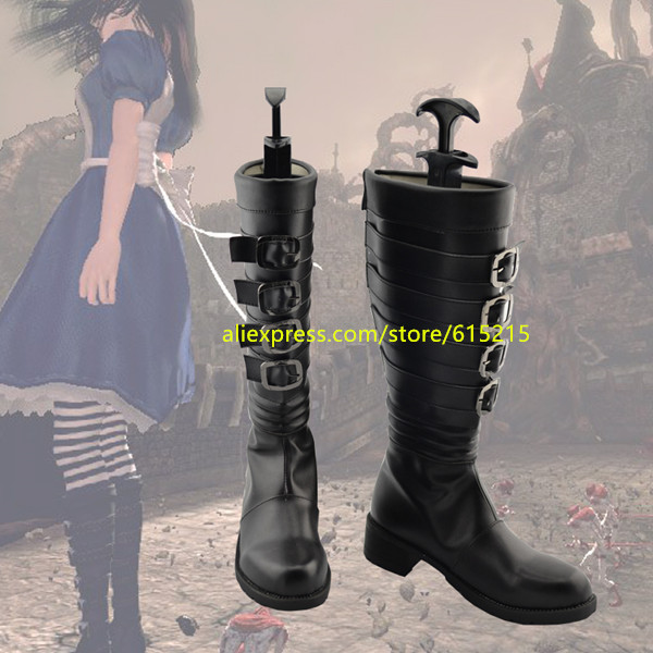 Anime Alice Madness Returns Cosplay Boots Shoes for Halloween Christmas
