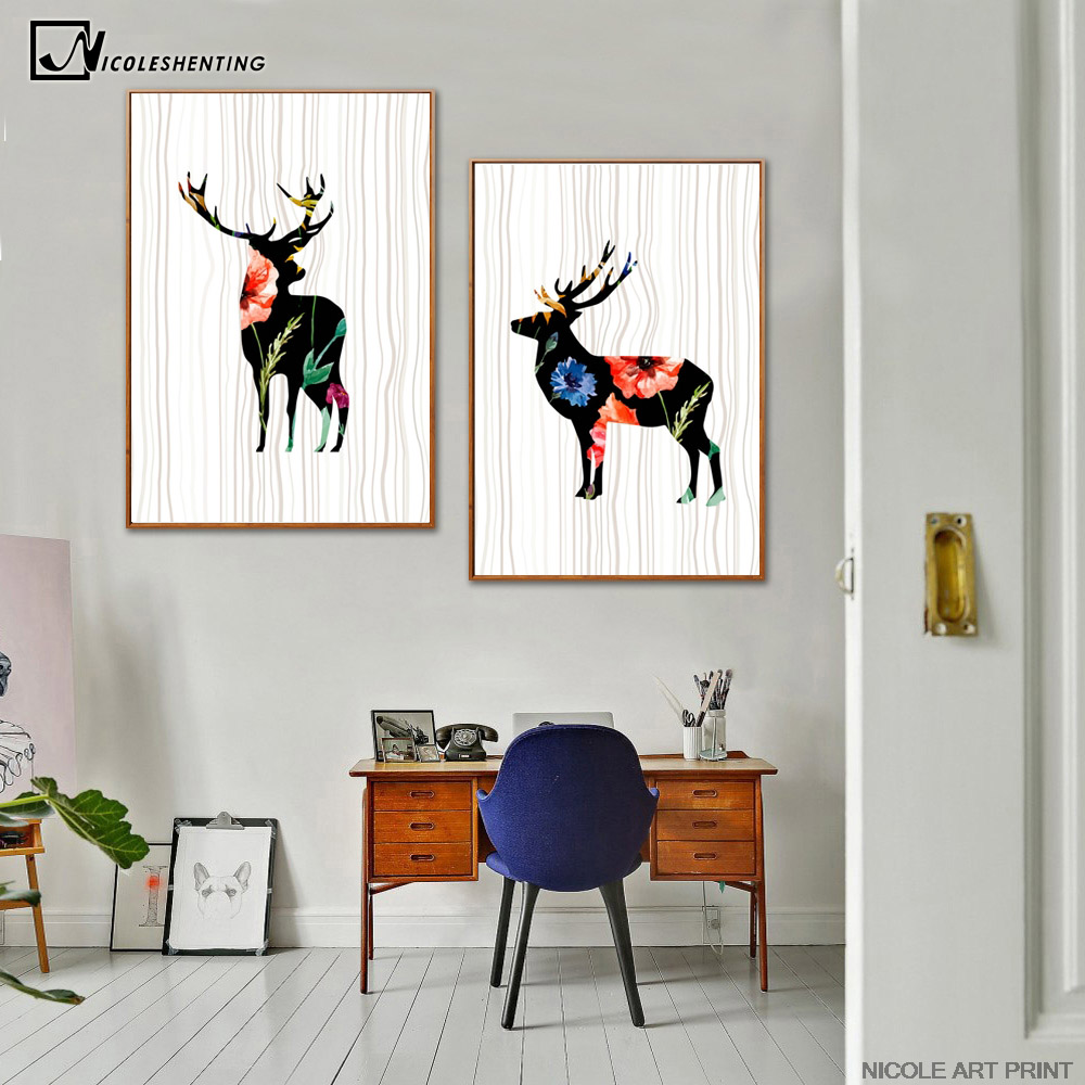 compare prices on abstract deer art online shopping buy low price 2 pcs nordic art deer flower poster minimalist canvas painting abstract wall picture print modern home